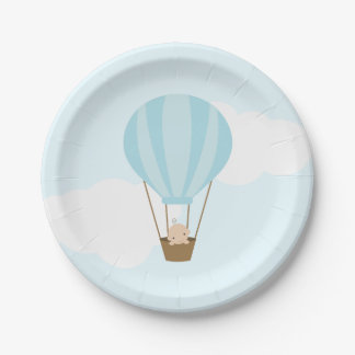 Baby in Blue Hot Air Balloon Baby Shower Paper Plate
