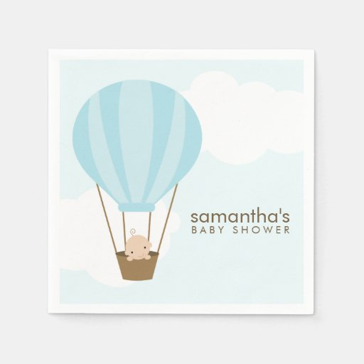 Baby in Blue Hot Air Balloon Baby Shower Paper Napkin