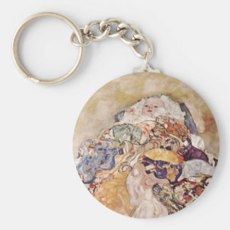 Baby in Brightly Colored Quilt Keychain