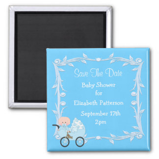 Baby in Carriage Blue Baby Shower Save The Date Magnets