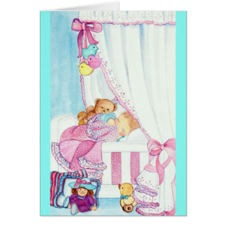 BABY IN CRADLE - congratulations on the birth - Card