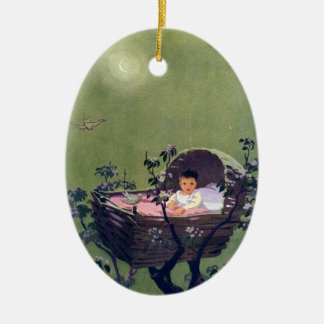 Baby in Cradle in Tree Lullaby Ceramic Ornament