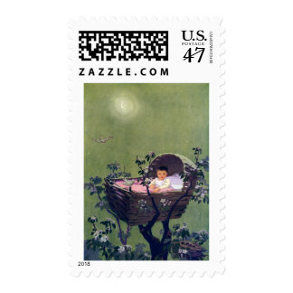 Baby in Cradle in Tree Lullaby Postage