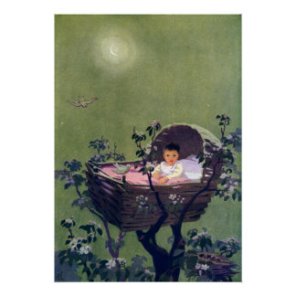 Baby in Cradle in Tree Lullaby Print