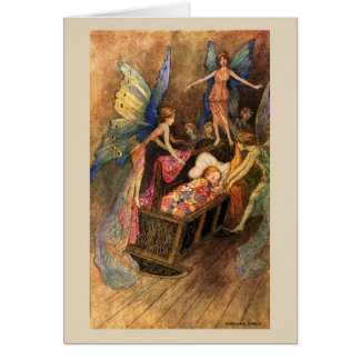 Baby in Cradle with Fairies - Card