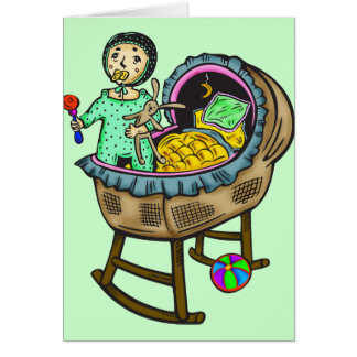 Baby In Crib With Toys Card