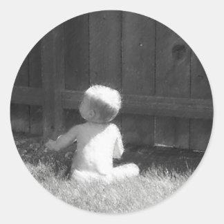 Baby In Grass Sticker
