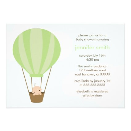 Baby in Green Balloon Personalized Invites