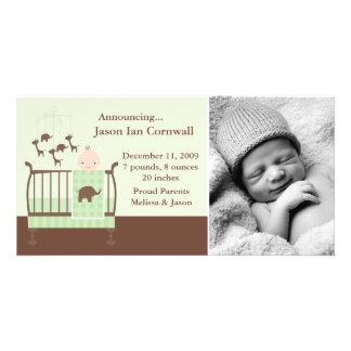 Baby in Green Crib Photo Birth Announcements