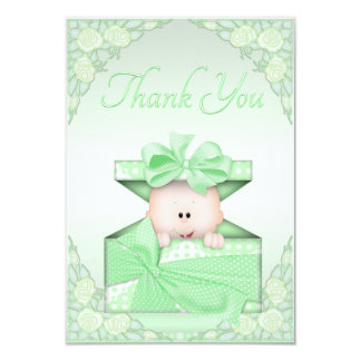Baby in Green Gift Box and Roses Thank You Card