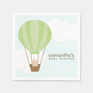 Baby in Green Hot Air Balloon Baby Shower Paper Napkin