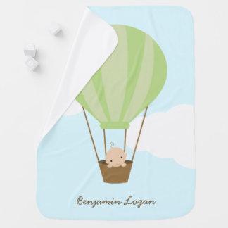 Baby in Green Hot Air Balloon Stroller Blanket