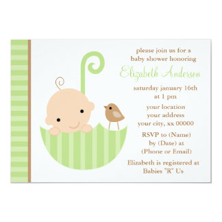 Baby in Green Umbrella Baby Shower 5x7 Paper Invitation Card