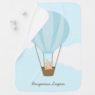 Baby in Hot Air Balloon {blue} Receiving Blanket