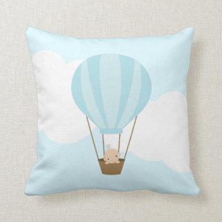 Baby in Hot Air Balloon {blue} Throw Pillow