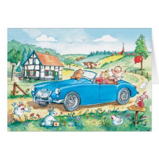 Baby in MG Oldtimer Car - Baby card