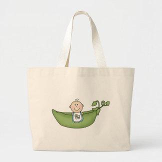 Baby in Pea Pod Blue Jumbo Tote Bag