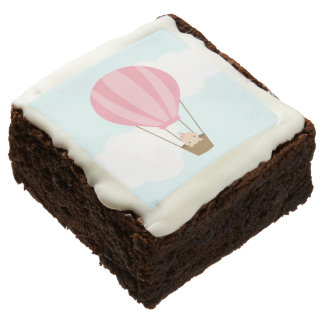 Baby in Pink Hot Air Balloon Baby Shower Chocolate Brownie
