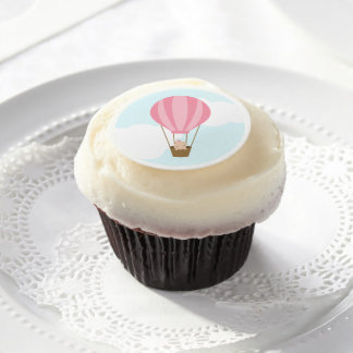 Baby in Pink Hot Air Balloon Baby Shower Edible Frosting Rounds