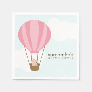 Baby in Pink Hot Air Balloon Baby Shower Paper Napkin
