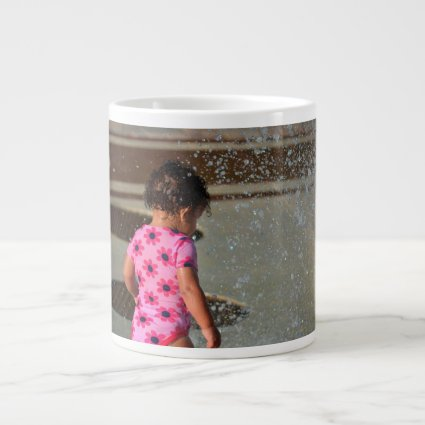 baby in pink in fountain extra large mug