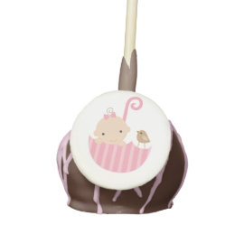 Baby in Pink Umbrella Baby Shower Cake Pops