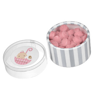 Baby in Pink Umbrella Baby Shower Chewing Gum Favors