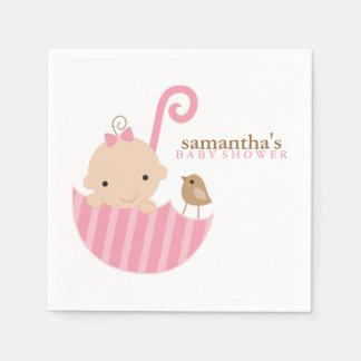 Baby in Pink Umbrella Baby Shower Napkin