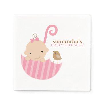 heartlocked Baby in Pink Umbrella Baby Shower Napkin