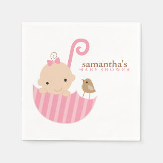 Baby in Pink Umbrella Baby Shower Disposable Napkin