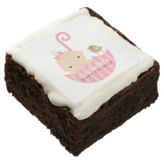 Baby in Pink Umbrella Baby Shower Square Brownie