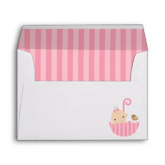 Baby in Pink Umbrella Girl Baby Shower Envelope