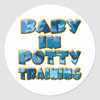 Baby in Potty Training (blue) Classic Round Sticker