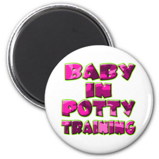 Baby In Potty Training (pink) 2 Inch Round Magnet