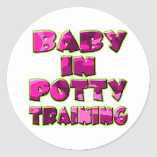 Baby In Potty Training (pink) Classic Round Sticker