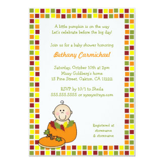 "Baby in Pumpkin Baby shower invites / Fall Mosaic 5"" X 7"" Invitation Card"