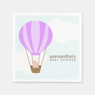 Baby in Purple Hot Air Balloon Baby Shower Napkin