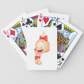 baby in red bicycle playing cards