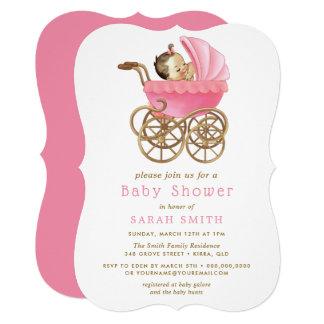 Baby in Stroller Pink Baby Shower invite