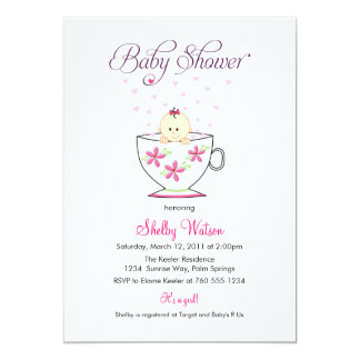 """Baby in Tea Cup Baby Shower Invitations 5"""" X 7"""" Invitation Card"""