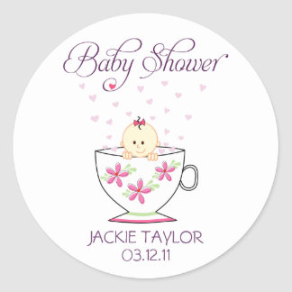 Baby in Tea Cup Stickers / Toppers Round Sticker