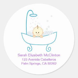 Baby in Tub Address Labels Round Sticker