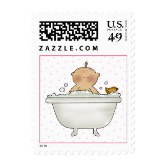 Baby in Tub Baby Girl Shower Stamps