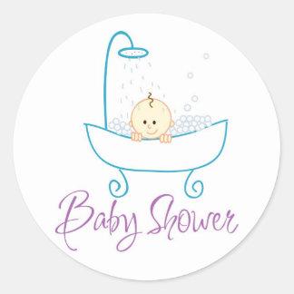 Baby In Tub Baby Shower Sticker Labels Round Sticker