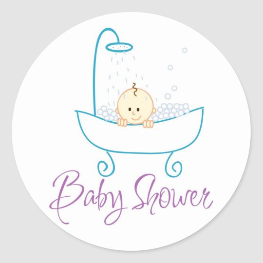 Baby In Tub Baby Shower Sticker Labels