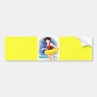 baby in water vector Cute girls Bumper Sticker