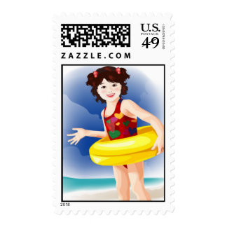 baby in water vector Cute girls Postage