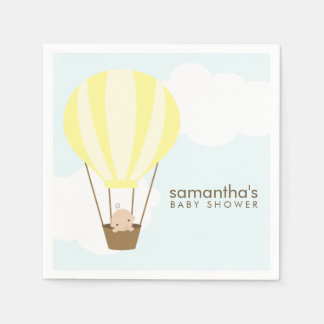 Baby in Yellow Hot Air Balloon Baby Shower Paper Napkin
