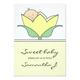 Baby in Yellow Tulip Baby Shower Invitation