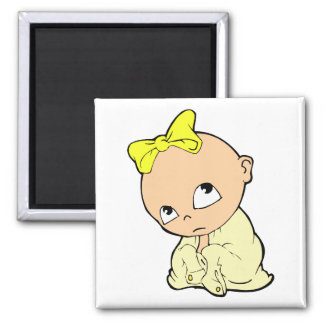 baby in yellow with bow 2 inch square magnet